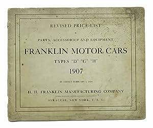 FRANKLIN MOTOR-CARS. 1907 Revised Price - List.: Automotive Catalogue /