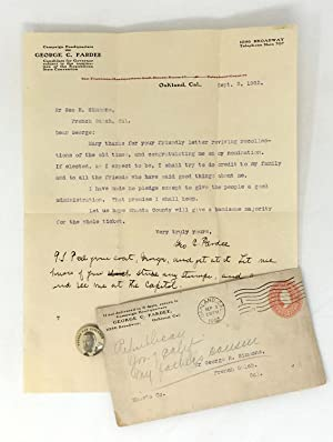 CALIFORNIA GOVERNOR GEORGE C. PARDEE LETTER AND CAMPAIGN BUTTON