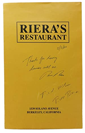 RIERA'S RESTAURANT.; 1539 Solano Avenue Berkeley, California