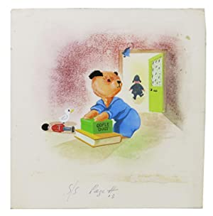 ORIGINAL WATERCOLOR SKETCH Of SOOTY, The BEAR.; Holograph caption: