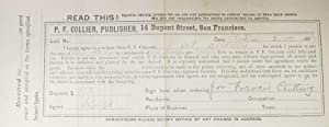 LAYAWAY PURCHASE RECEIPT. P. F. Collier, Publisher, 14 Dupont Street, San Francisco. 2. 19 . 1887