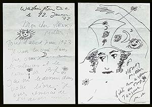 Marceau, Marcel. [Henry Miller]. Autographed & Illustrated: Marceau, Marcel. [Henry