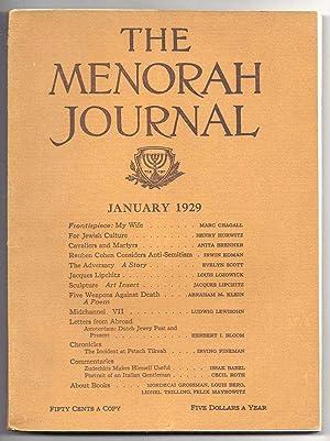 THE MENORAH JOURNAL. January 1929. Vol. XVI,: Klein, A. M.,