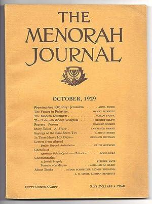 THE MENORAH JOURNAL. October 1929. Vol. XVII,: Klein, A. M.,