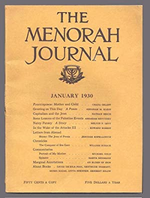 THE MENORAH JOURNAL. January 1930. Vol. XVIII,: Klein, A. M.,