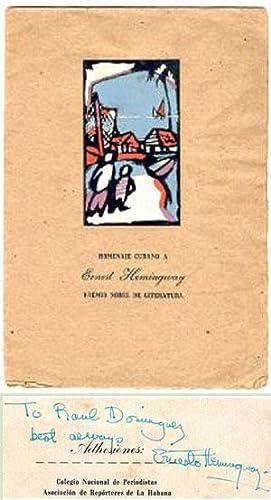 Homenaje Cubano a Ernest Hemingway premio nobel: Hemingway, Ernest