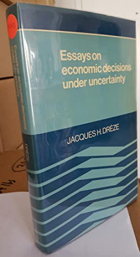 Essays on economic decisions under uncertainty. (Presentation copy, signed and inscribed by Dr&...