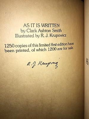 AS IT IS WRITTEN.: SMITH, CLARK ASHTON. (SIGNED)