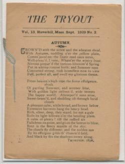 THE TRYOUT. Sep. 1929. Vol. 8, No. 11.