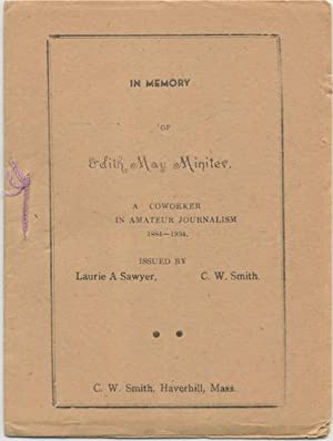 IN MEMORY OF EDITH MAY MINITER. TRYOUT, Sept., 1934. Vol. 16, No. 8.