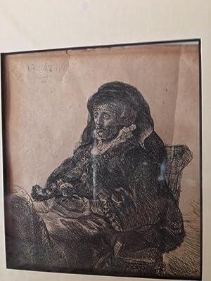REMBRANDT's MOTHER. (Original Etching).: van Rijn, REMBRANDT.