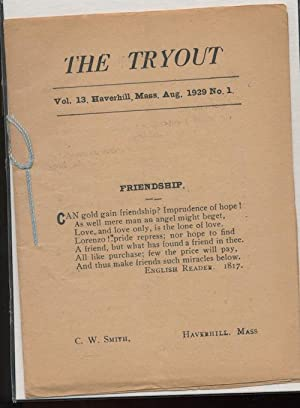 THE TRYOUT. Aug. 1929. Vol. 13, No. 1.