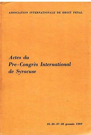 Actes du Pre-congres International de Syracuse.