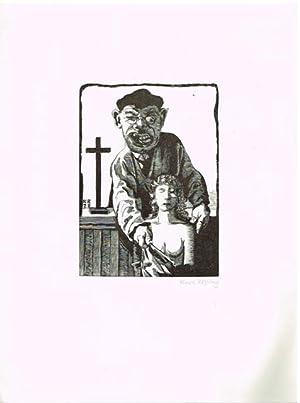 Dieb mit Frauenbüste. Holzstich. 1928.: Karl Rössing.