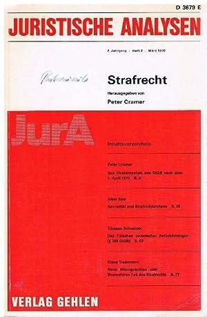 Juristische Analysen. 2. Jahrgang, Heft 3, März 1970. Strafrecht.: Cramer, Peter u.a. (Hrsg.)