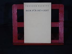 Rede für den Geist. Gehalten in Stuttgart am 26. Febr. 1935.: Haering, Theodor.