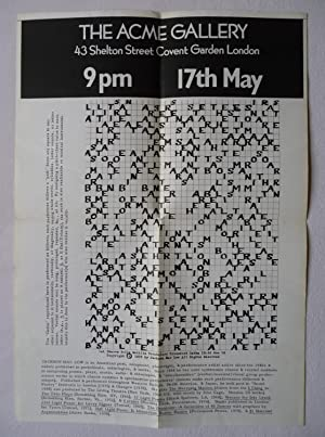 A poster for Jackson Mac Low at The Acme Gallery, London, on 17 May (1978), showing his '1st Shar...
