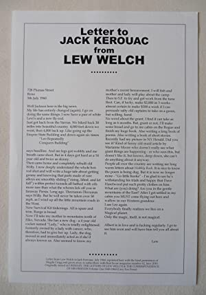 Letter to Jack Kerouac from Lew Welch
