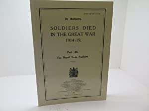 Soldiers Died in the Great War, 1914-19: Various