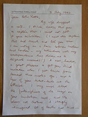 Two Sided Hand Written Letter: SEAMUS HEANEY