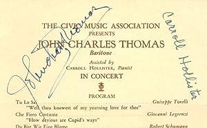 The Civic Music Association Presents John Charles Thomas, Baritone, Assisted by Carroll Hollister, ...