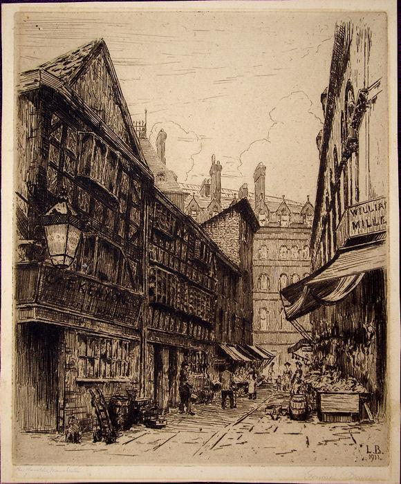 Manchester_The_Shambles_Original_dry_point_etching_by_Leonard_Brewer_18751935__