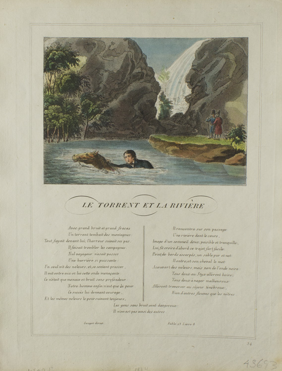 "Hand-Colored Engraving above printed Text from """"Les Fables"""" La Fontaine, Jean"