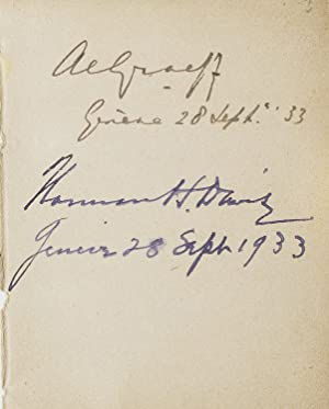 Autographs of British ambassador to the League of Nations, [Sir] John Simon; Norman H. Davis, cha...