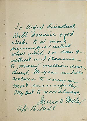Autograph Note Signed by the actor to LIFE photographer ALFRED EISENSTAEDT,
