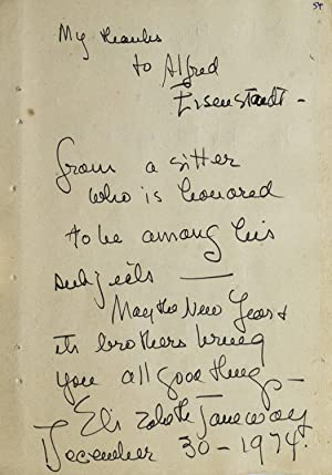 Autograph Note Signed to LIFE photographer ALFRED EISENSTAEDT.