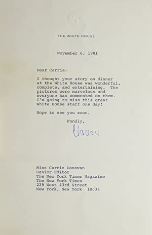 Typed Letter Signed on White House Stationery, to Carrie Donovan thanking her for her story on di...