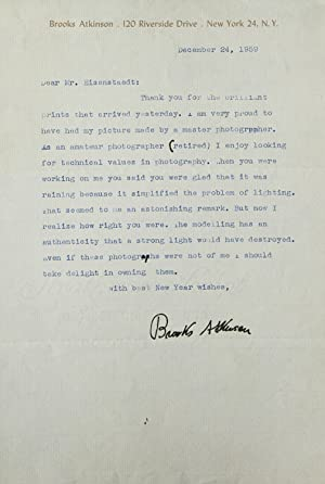 Typed Letter, Signed, to Alfred Eisenstaedt, thanking him for portrait prints