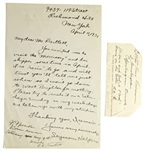 Two autograph notes, first signed in margin of another letter as