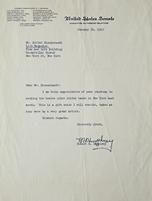 Typed Letter, Signed, to Life Magazine photographer Alfred Eisenstaedt