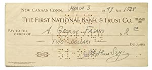 Signed Check Made out to A. George Fasano drawn on the First National Bank & Trust Co. for $2.00