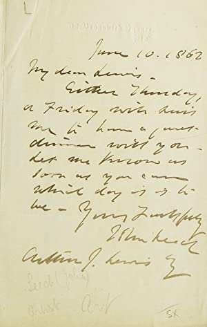 Autograph Letter signed, to Mr Arthur J. Lewis, about dinner