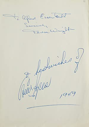 Autograph inscriptions signed, to photographer Alfred Eisenstaedt: Wright, Teresa and