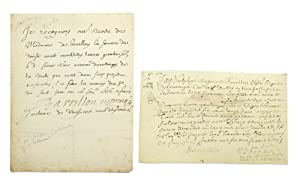 Two manuscript documents, one signed
