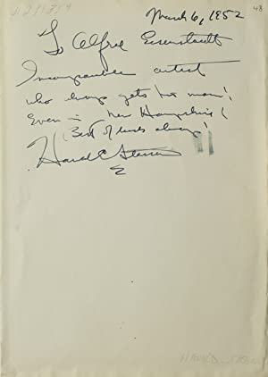 Autograph Note Signed to Alfred Eisenstaedt