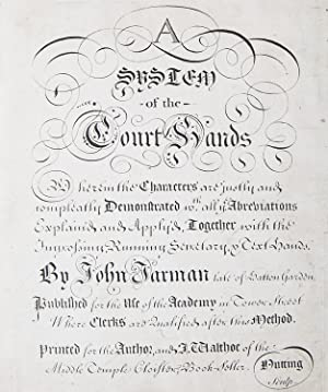 [Engraved title-page for:] A System of the Court Hands
