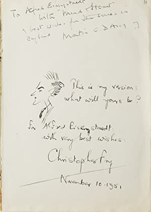 Autograph Note Signed to LIFE photographer ALFRED EISENSTAEDT With Self Portrait by Fry.