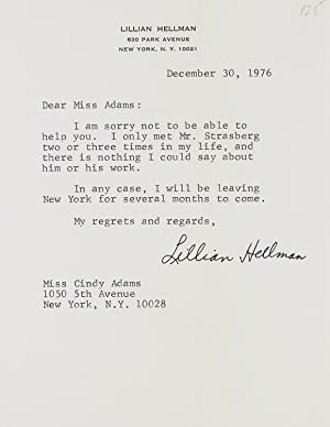 Typed letter, secretarial signature (