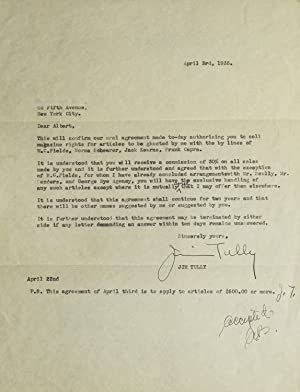 Carbon Typed Letter, Signed. Contract between Tully: Tully, Jim (1886-1947)