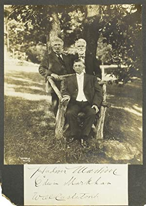 Photograph of American inventor Hudson Maxim with poets Edwin Markham and Will Carleton, signed b...