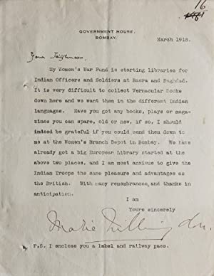 Typed letter signed Lady Marie Willingdon (