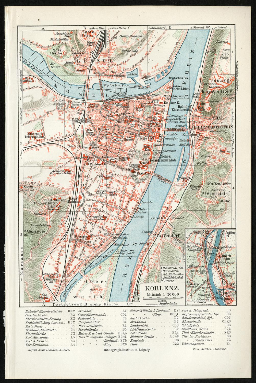 Antique Map Koblenz Rhine Mosel Germany Meyers 1902