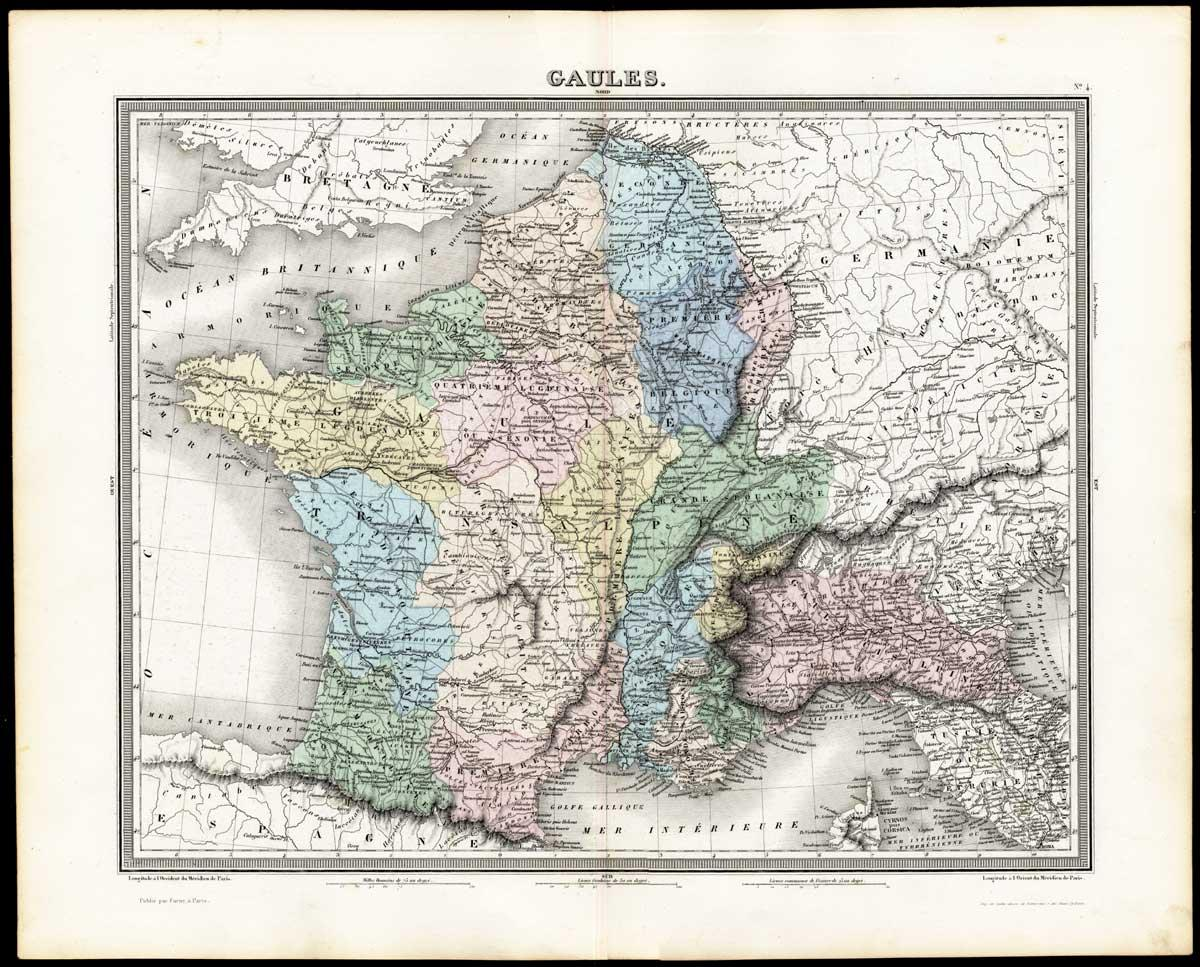 Map Of France Belgium And Luxembourg.Antique Map Gaul France Belgium Netherlands Luxembourg Tardieu