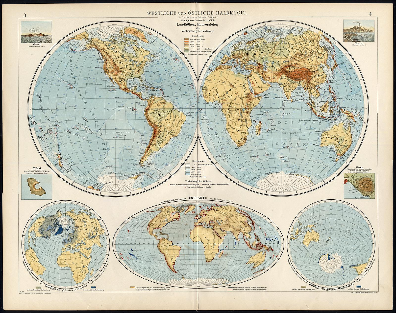 Antique Map-WORLD-WESTERN AND EASTERN HEMISPHERE-Andree-1904 ...