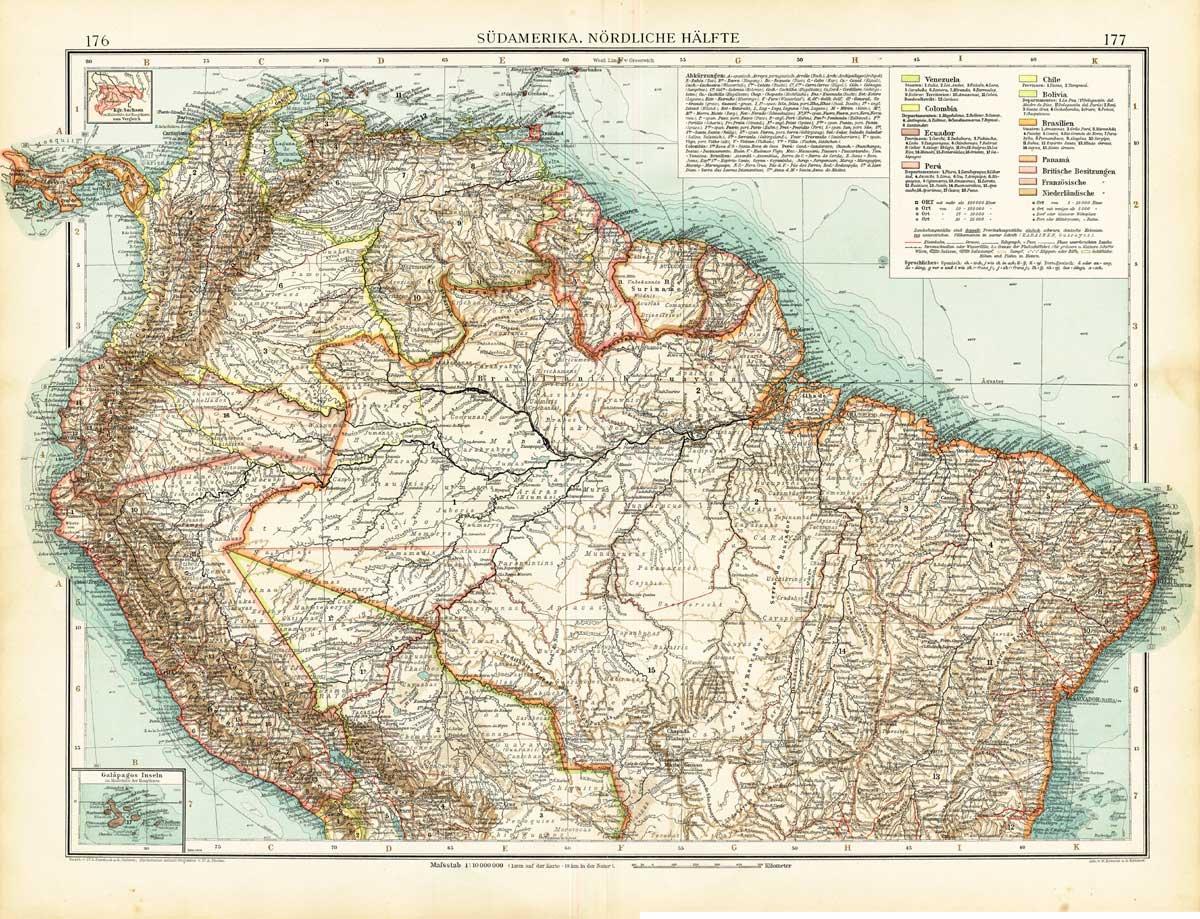 Antique Map South America Brazil Ecuador Galapagos Islands Surinam