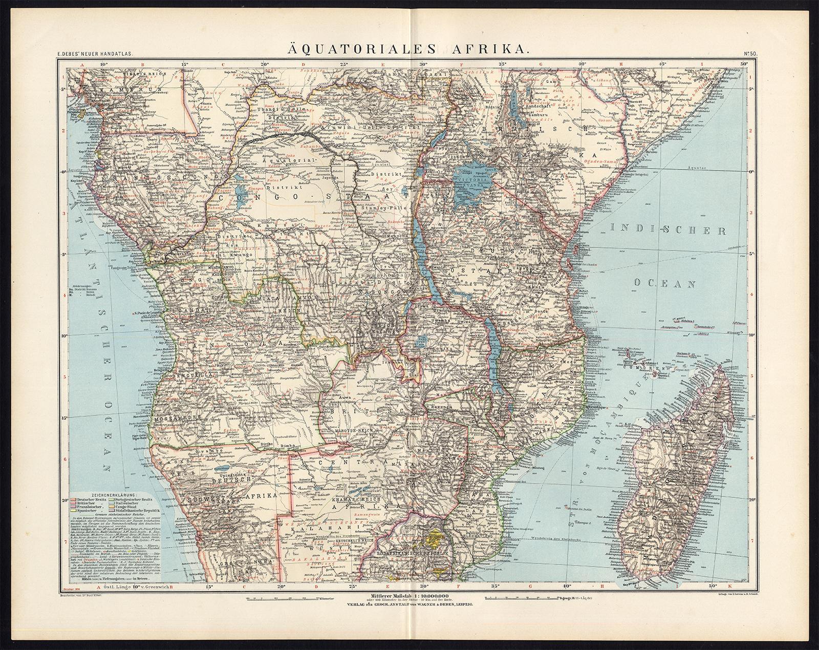 Antique Map-CENTRAL AFRICA-MADAGASCAR-CONGO-Debes-Elfert-ca. 1895 ...